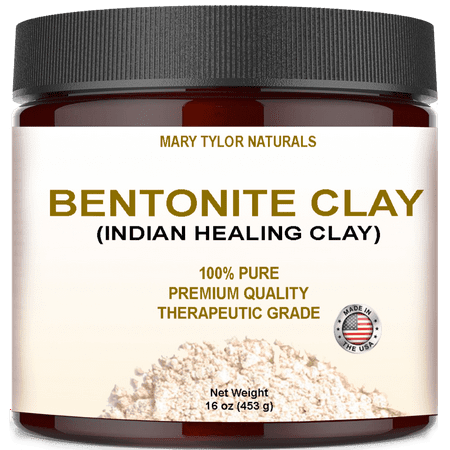 Natural English Clay (Bentonite Clay Mask, Large 16 oz Jar, Indian Healing Clay Powder, Natural Healing Facial Mask, Deep Pore Cleansing, Removes Excessive Facial Oil, Reduces Acne, Made in the USA by Mary Tylor Naturals )