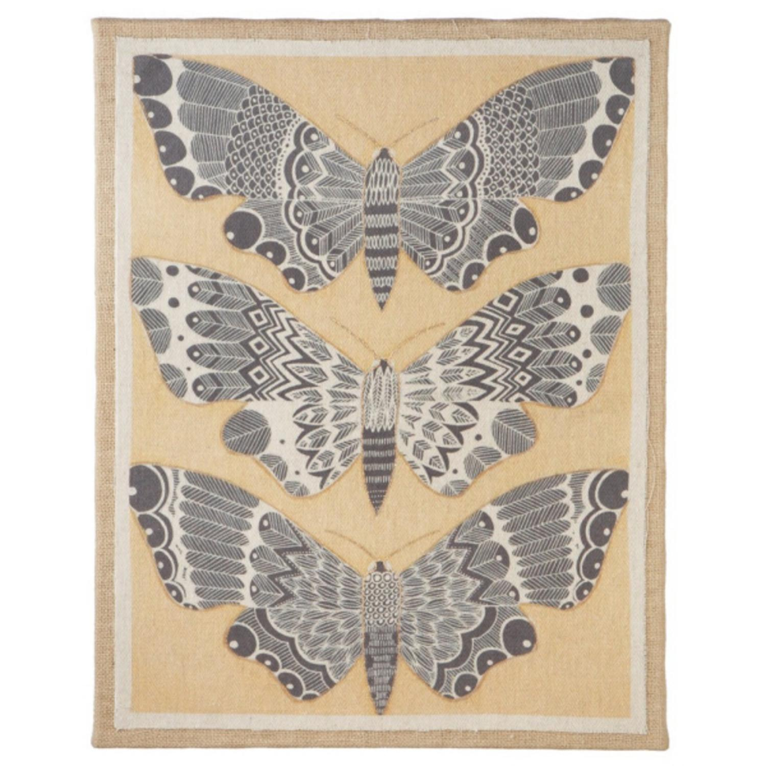 "22"" Rustic Nature Inspired Three Golden Moths Wall Art on Burlap"
