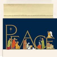 JAM Christmas Card Sets, Peaceful Night, 16/Pack