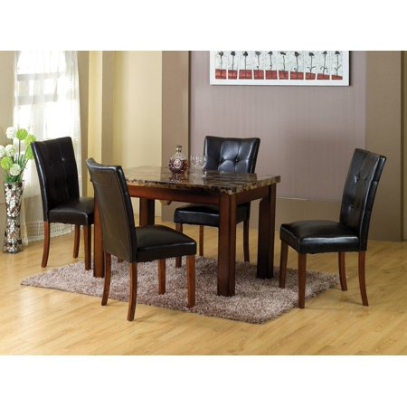Home Source Sierra Faux Marble Dining Table with Mahogany Legs ()
