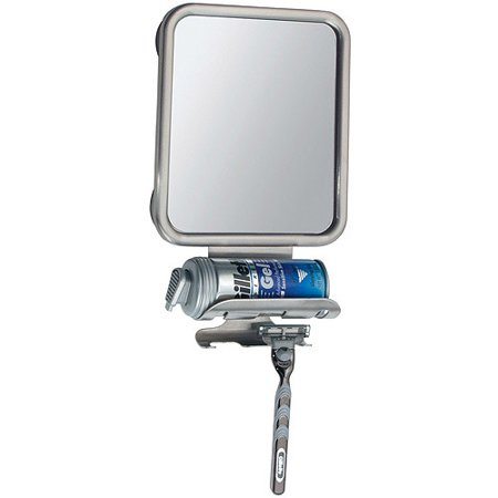 InterDesign Forma Suction Fog Free Shower Shaving Mirror with Shaving Cream and Razor Holder for Bathroom, Brushed Stainless