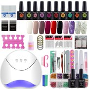Gelongle 10 Colors Gel Polish Starter Kit 36W LED UV Nail Dryer Curing Lamp Manicure Nail Art Tools Gel Polish Kit - Best Reviews Guide