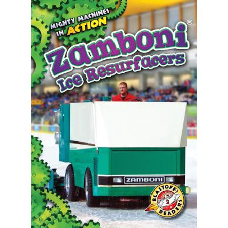 Zamboni Ice Resurfacers Hockey players and figure skaters wouldnt be able to perform their best without Zamboni ice resurfacers. The famous ice polisher machines smooth ice by shaving it, washing it, squeegeeing it, and more! In this title, beginning readers will watch Zamboni machines make loops around ice rinks.