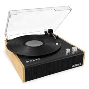 Victrola Eastwood 3-Speed Bluetooth Turntable with Built-in Speakers and Dust Cover | Upgraded Turntable Audio Sound | Black (VTA-72-BAM)