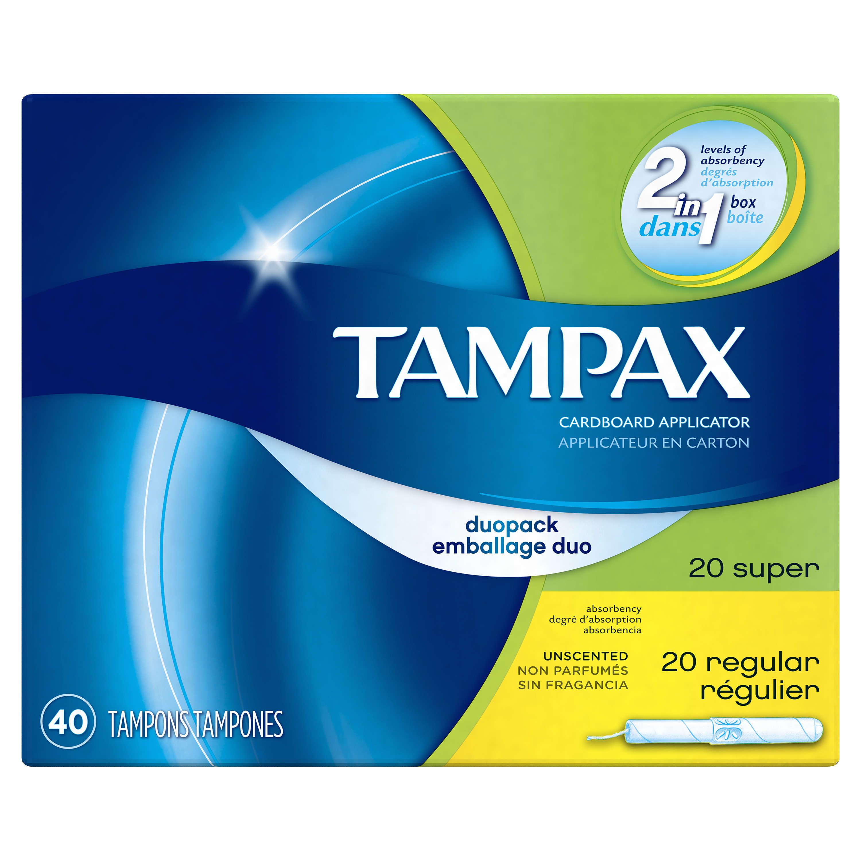 Tampax Cardboard Duopack (Regular/Super) Tampons, Unscented 40 count