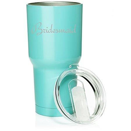 Bridesmaid Tumblers (30 oz. Tumbler Stainless Steel Vacuum Insulated Travel Mug Bridesmaid Bachelorette Wedding (Light)