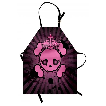 Skull Apron Cute Skull Illustration with Crown Dark Grunge Style Teen Spooky Halloween Print, Unisex Kitchen Bib Apron with Adjustable Neck for Cooking Baking Gardening, Pink Black, by Ambesonne](Cooking Ideas For Halloween)