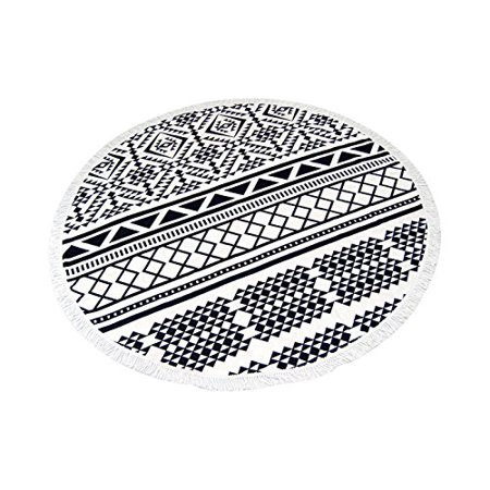Peach Couture Thick Material Round Yoga Mat Mandala Beach Towel Super Water Absorbent Tapestry Multi Purpose Towel Boho Gypsy Beach Blanket with Fringe Tassels Black (Best Water Absorbent Material)