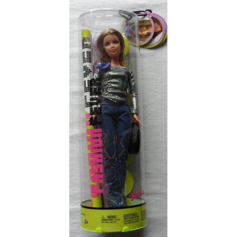 Barbie Fashion Fever Barbie in Sequinned Blue Jeans & Black Shiny Shirt by Mattel by