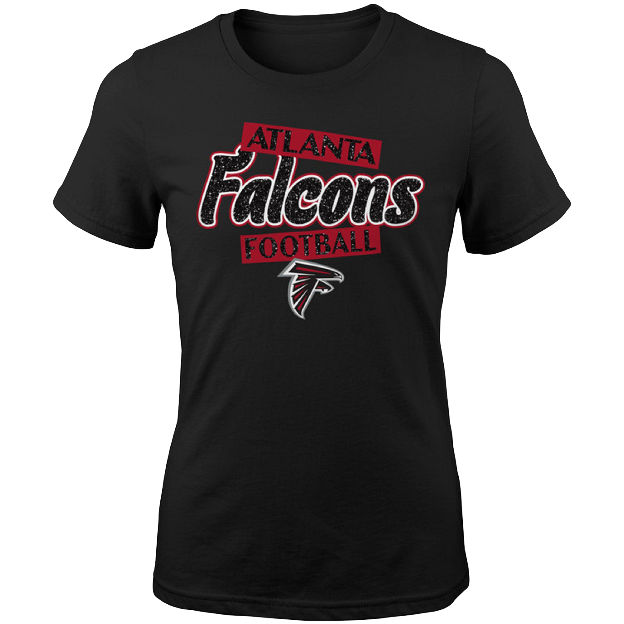 Girls Youth Black Atlanta Falcons Team Glitter T-Shirt