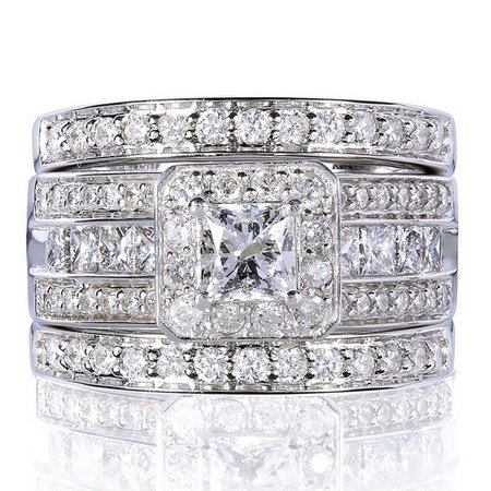 Taylor II 3 Ring Bridal Wedding Engagement Band Ring Set Ginger Lyne Collection ()