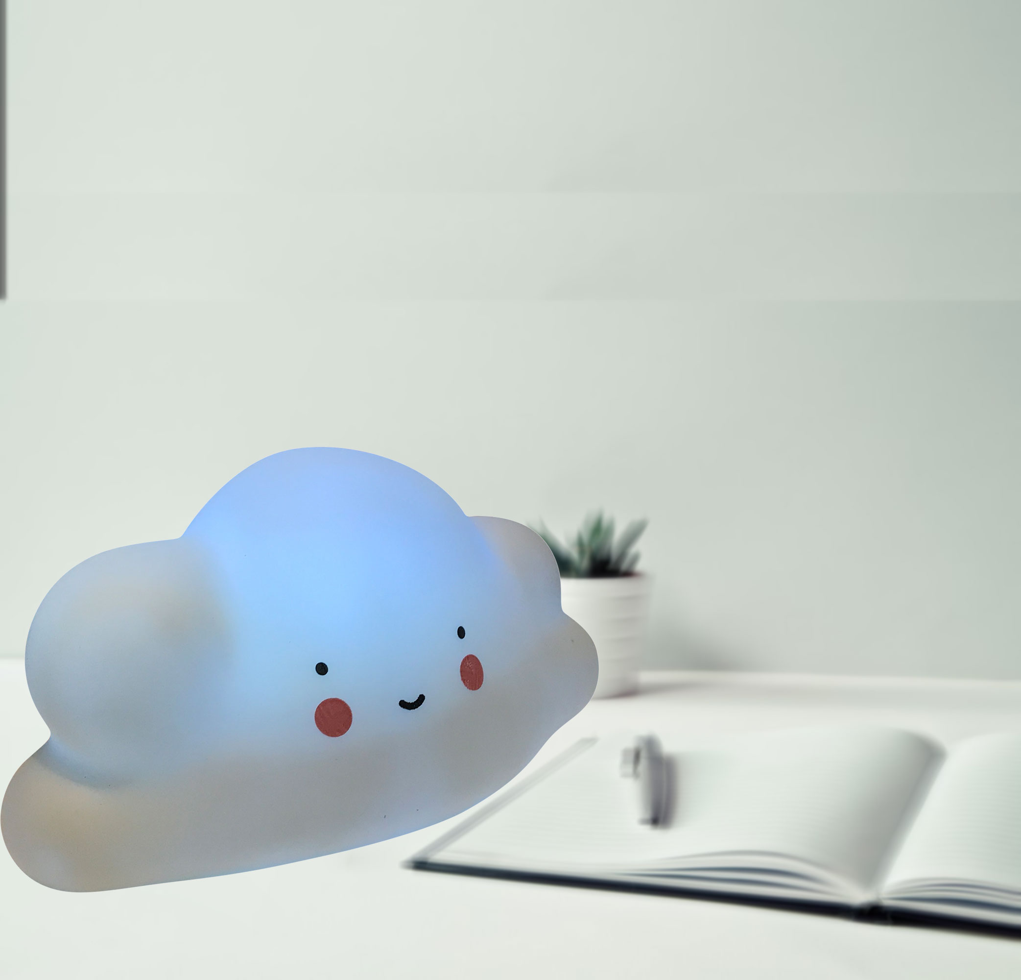 Soft Cloud Light (White). It comes with 3 Button Batteries, on/off switch;Product Size: 3.25x6x3.25. Squeezable fun light for any kid and room