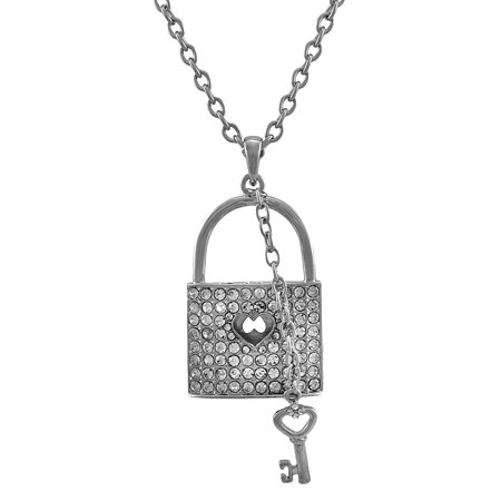 Silver Tone Rhinestone Lock Necklace with Key Charm 28 In.