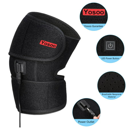 Anauto Adjustable Heated Pad Heat Therapy Knee Wrap Brace Thermotherapy With Pocket