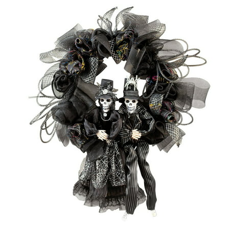 Collections Etc. Scary Couple Halloween Wreath with Black Mesh, Silver Accents and Skeleton Couple - Halloween Wreath Bows