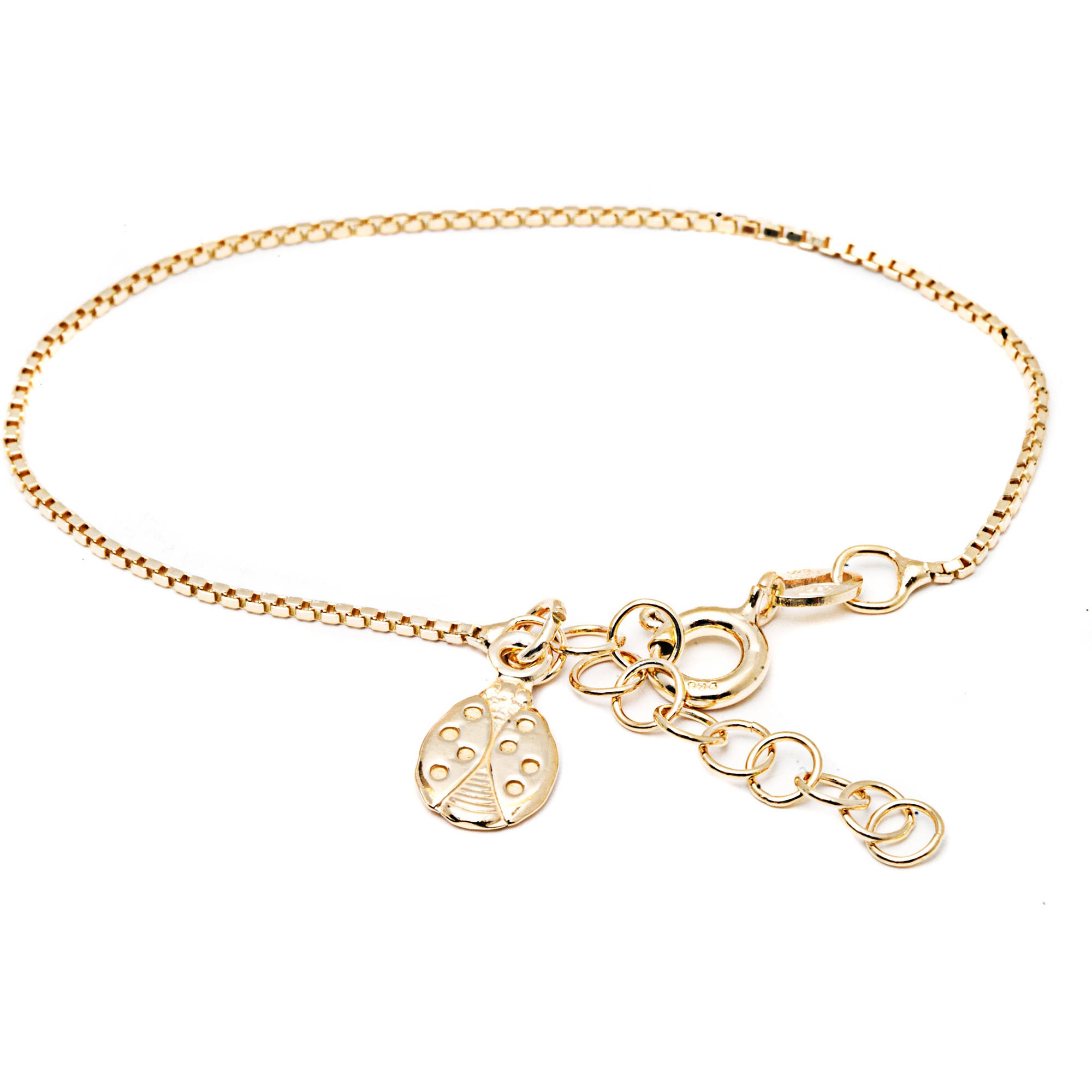 """Pori Jewelers 18kt Gold-Plated Sterling Silver Kids' Bracelet with Ladybug Charm, 6"""" Box Chain"""