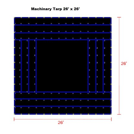 26' x 26' Heavy Duty Truck Tarp, Black Color, Great for Flat Bed Truck Hauling Equipments & Machineries, 18 OZ Gauge, Heavu Duty for Tough Trucking Business, Patchable and Repairable, (Flat Black Truck)