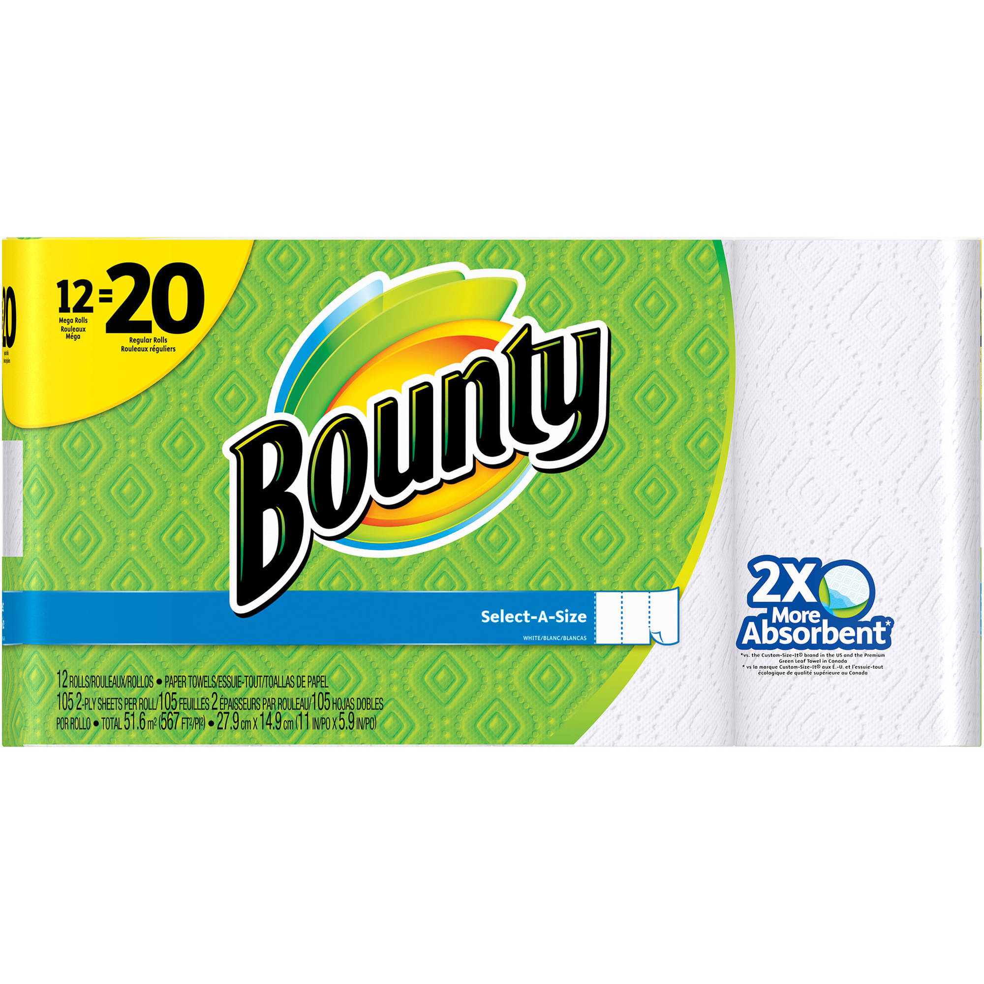 Bounty Select-a-Size Mega Roll Paper Towels, 105 sheets, 12 rolls