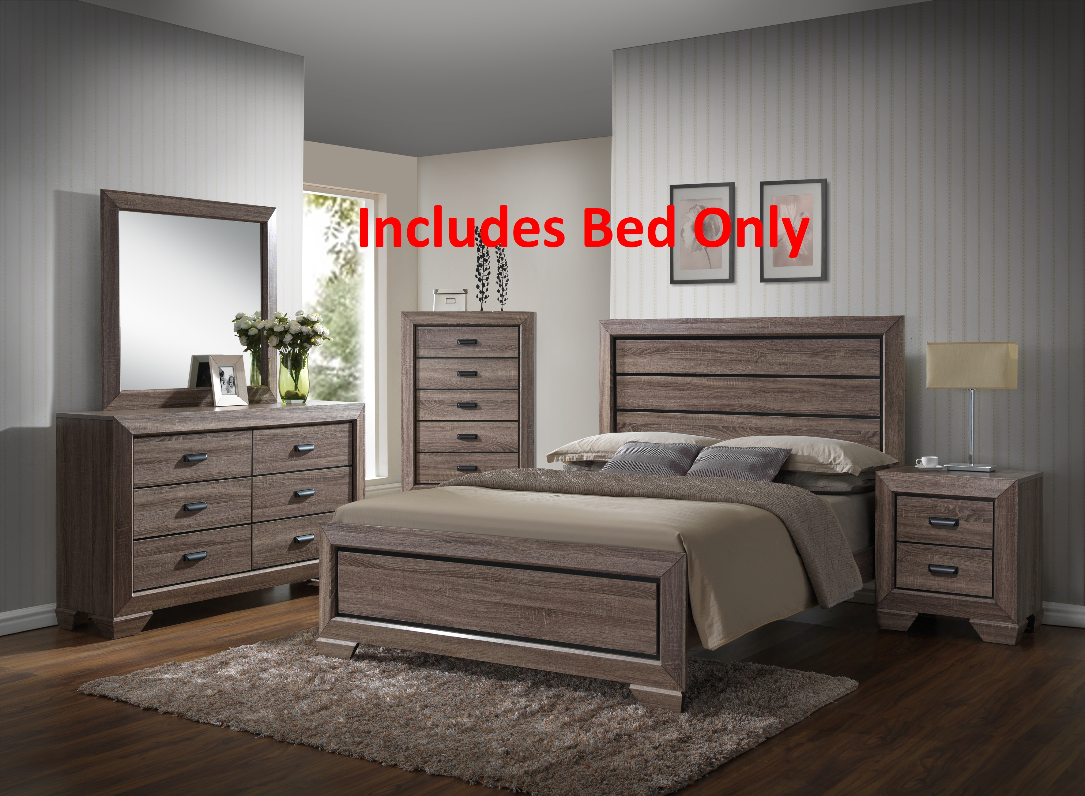 Jardena Queen Size Brown Wood Modern Bed (Headboard, Footboard, Rails) by Pilaster Designs