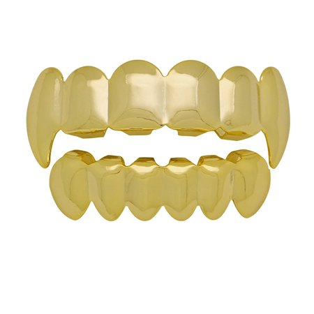 The Bling Factory 24K Gold Plated Vampire Fang Removable Top & Bottom Teeth Grillz Set + Polishing Cloth - Vampire Gold Teeth