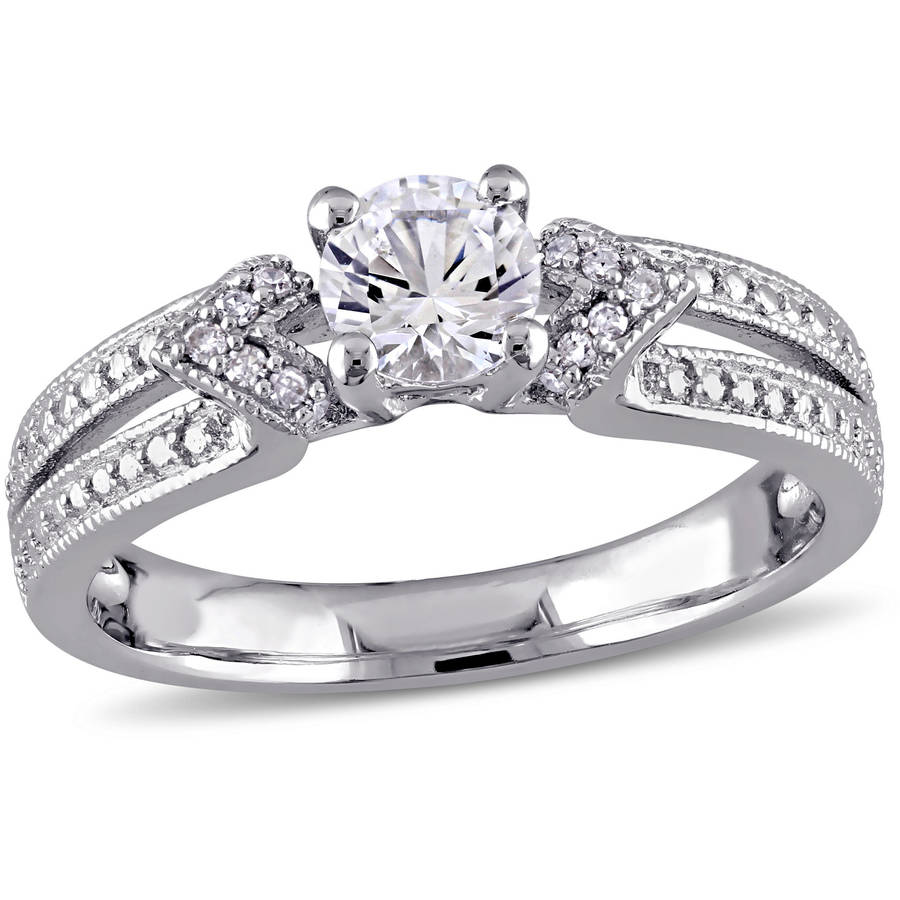 Miabella 5/8 Carat T.G.W. Created White Sapphire and Diamond-Accent Sterling Silver Engagement Ring