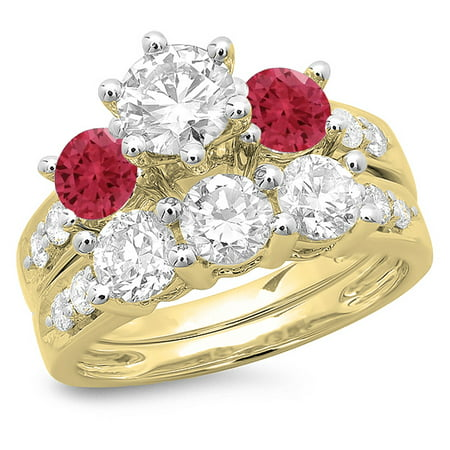 Dazzlingrock Collection 14K Ruby & White Diamond Bridal 3 Stone Engagement Ring Band Set, Yellow Gold, Size 4