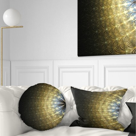 DESIGN ART Designart 'Amazing Gold Symmetrical Fractal Flower' Floral Throw Pillow