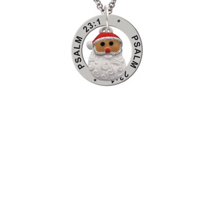 Santa Face with Curly Beard Psalm 23:1 Affirmation Ring Necklace - Curly Beard