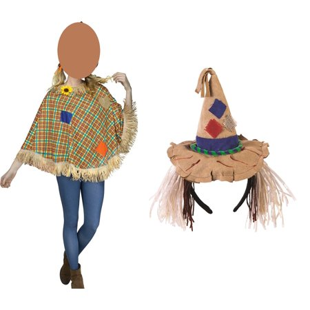 Womens Cute Scarecrow Set Poncho and Headband Pointy Hat Patches Costume Kit - Scarecrow Woman Costume
