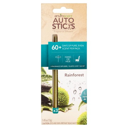 Enviroscent Auto Sticks Rain Forest Fragrance Diffusers 3