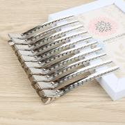 Jeobest 12PCS Hair Clips Professional - Professional Hairdressing stainless steel+aluminum Clips Sectioning Hair Clamps MZ (Small Silver Hair Clips)