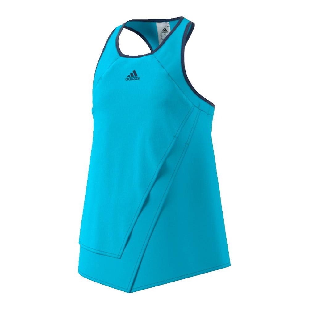 Adidas Girls` Melbourne Tennis Tank Samba Blue and Glow O...