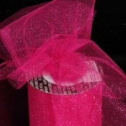 "Designer Hot Pink Glitter Tulle Craft Ribbon 3"" x 220 Yards"