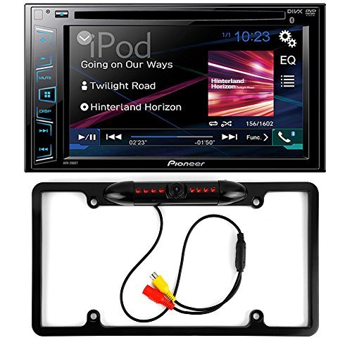 Pioneer AVH-280BT Double DIN Bluetooth In-Dash DVD/CD/AM/FM Car Stereo Touchscreen Display + Cache Night Vision Car License Plate Rearview Camera - Black CAM810B