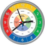 Educational Wall Clock | Time Teaching Clock Perfect for Teacher's Classrooms and Kid's Bedrooms, Worded Numbers