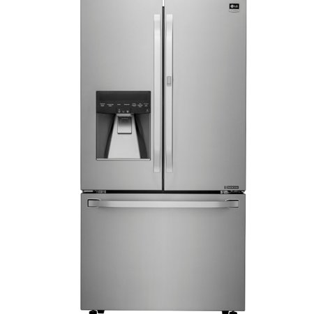 """LSFXC2476S 36 Energy Star Rated Counter-Depth French Door Refrigerator with 23.5 cu. ft. Capacity  External Ice and Water Dispenser and Slim SpacePlus Ice System in Stainless Steel"""""""