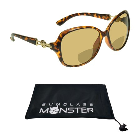 Sunglass Monster Womens BIFOCAL Reading Sunglasses Sun Readers with Sexy Oversized Tortoise Shell Brown Frame with Gold (Sunglass Hut Reading Glasses)