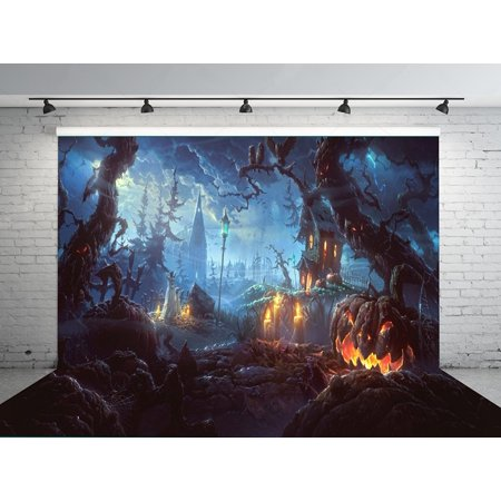 HelloDecor Polyster 7x5ft Halloween Pumpkin Horror Nights Moon Mysterious Forest Castle Costume Party Masquerade Decoration Photo Backdrops Studio Background Studio Props - Halloween Horror Nights Party