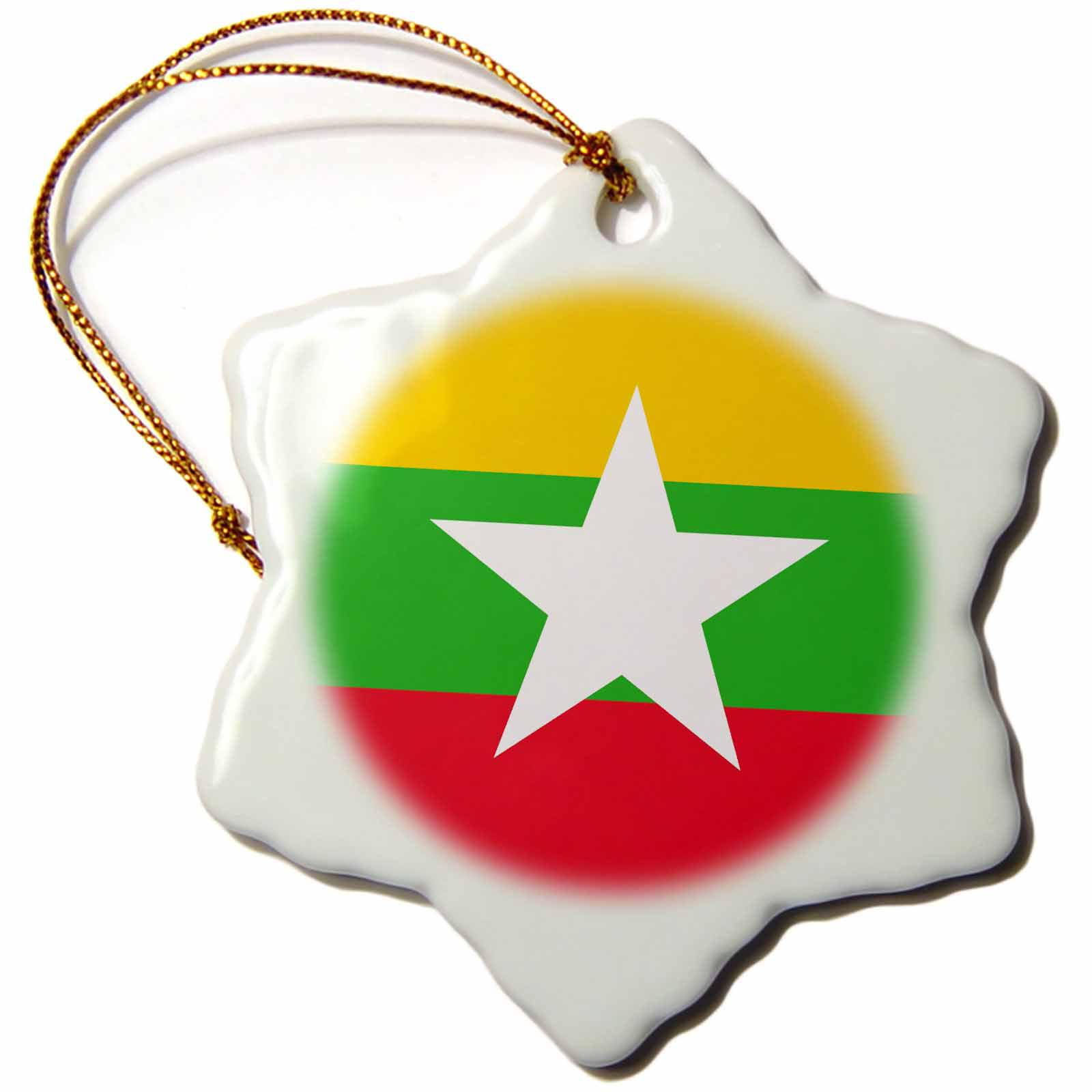 3drose Flag Of Myanmar Burma Burmese Yellow Green Red Stripes With
