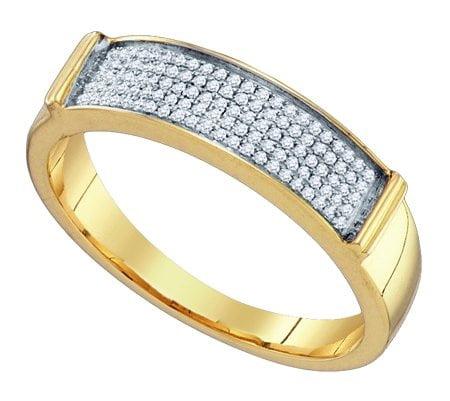 10K Yellow Gold 0.23ctw Shiny Micro Pave Diamond Mens Fas...