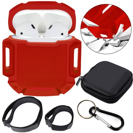 Moretek Silicone Airpods Protective Case Accessories for Apple Airpods (Red)