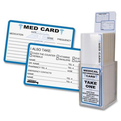 54652 Tabbies Medical Information Card - 25 / Pack