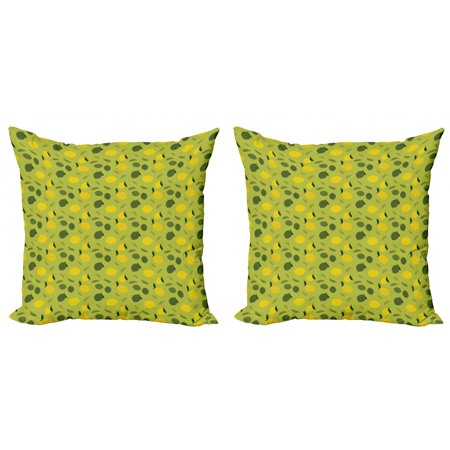 Lemons Throw Pillow Cushion Cover Pack of 2, Simplistic Vibrant Colors Vitamin C Colorful Graphic, Zippered Double-Side Digital Print, 4 Sizes, Olive Green Yellow, by Ambesonne