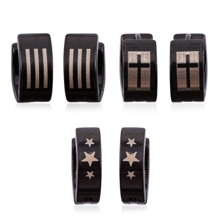 Set Of 3 Stars Cross And Stripes Ion Plated Black Stainless Steel Huggie Earrings