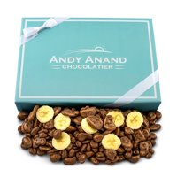 Andy Anand Belgian Milk Chocolate covered Banana Chips, Gift Boxed with Greeting Card 1lb, Delicious, Succulent & Divine, For Birthday, Valentine Day, Christmas, Holiday Food Gifts, Mothers Day