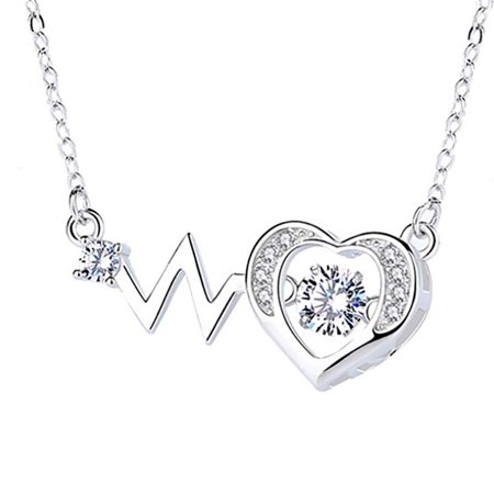Ginger Lyne Collection Heartbeat EKG Dancing Stone Sterling Silver CZ Pendant Chain Necklace