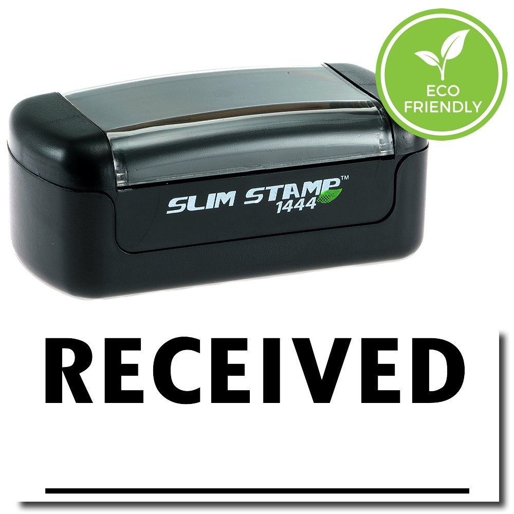 Slim Pre-Inked Received Stamp (Two Line) with Black Ink