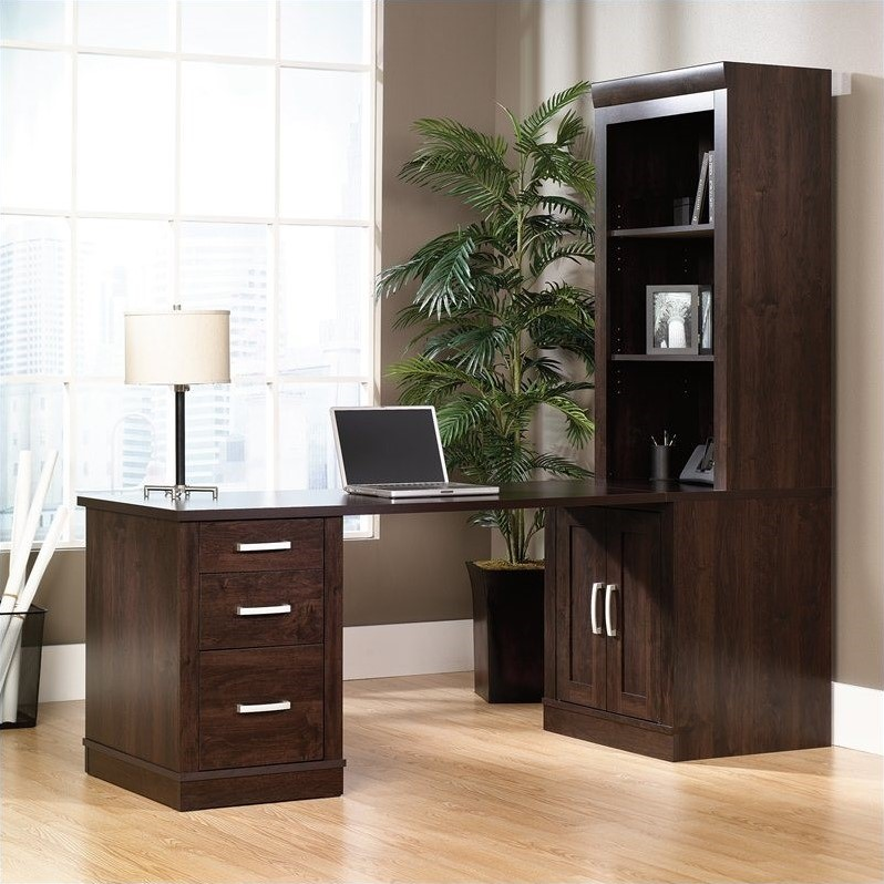 Sauder Office Furniture Office Port Library Desk with Hutch in Dark Alder - 408363-64-65-PKG