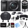 Sony Alpha a6300 ILCE-6300 4K Mirrorless Camera 16-50mm + 55-210mm Lens Bundle includes a6300 Camera, 16-50mm + 55-210mm Zoom Lens (Silver), Filter Kits, 32GB SDHC Card, Beachcamera Cloth and More