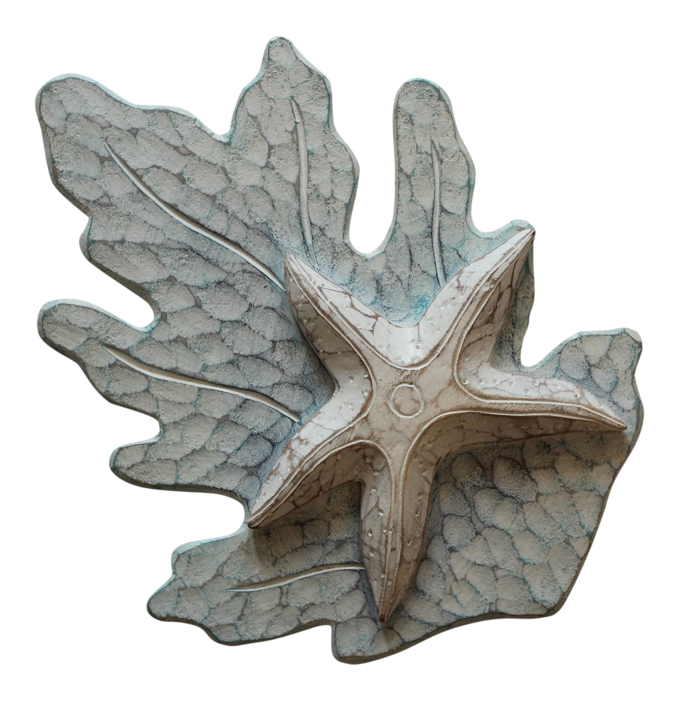 White Starfish on Aqua Reef Carved Wood Wall Plaque 11 Inches
